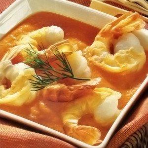 Gambas cocidas con salsa romesco - Garnalen in romescosaus