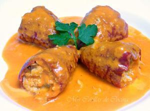 Pimientos del piquillo rellenos de merluza - Gevulde zoete paprika met heek