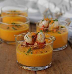 Crema de Zanahorias y Naranja con Vieiras - Coquilles met wortel-sinaasappel crème