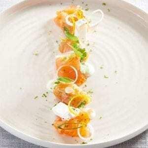Carpaccio de salmón con queso de cabra - Carpaccio van zalm met geitenkaas