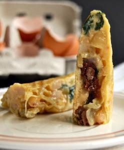 Tortilla de Frijoles y Morcilla - Omelet met bloedworst en bonen