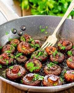 Setas al Ajo en Vino Tinto - Knoflook champignons in rode wijn