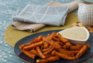 Palitos de Boniato al horno con Especias - Gebakken zoete aardappel sticks met kruiden